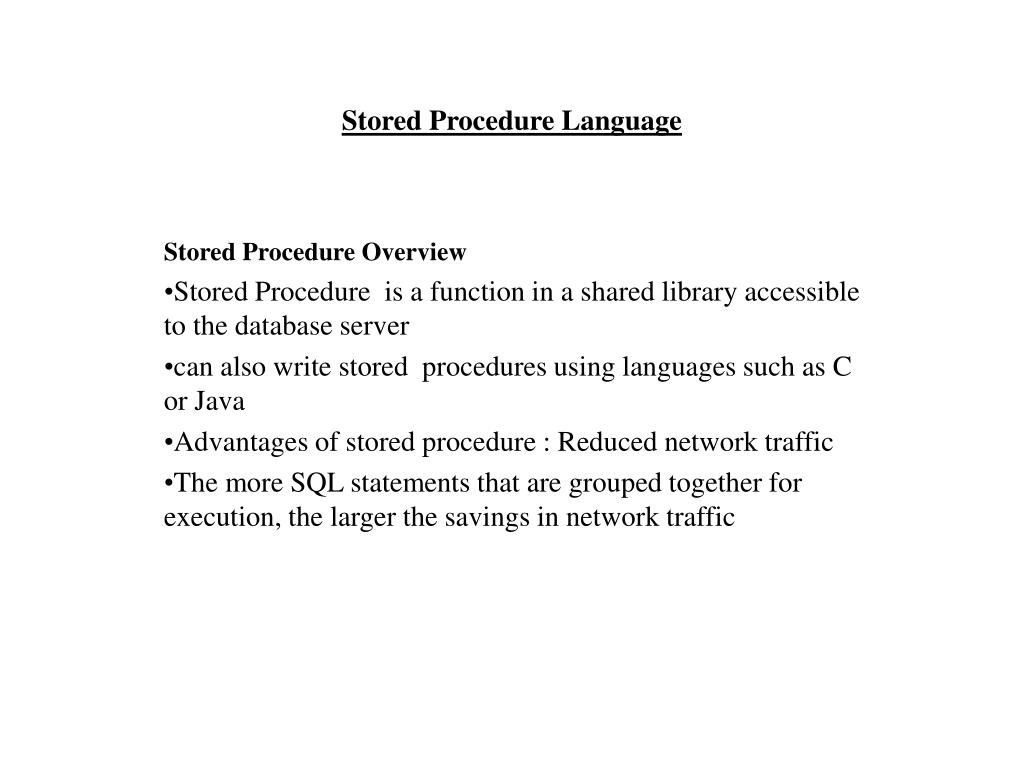 stored procedure language l.