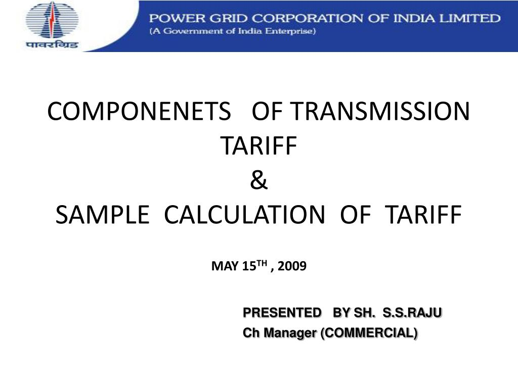 componenets of transmission tariff sample calculation of tariff l.