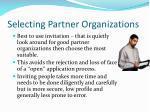 selecting partner organizations