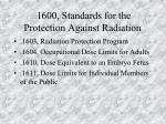 1600 standards for the protection against radiation