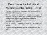 dose limits for individual members of the public 1611