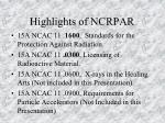 highlights of ncrpar
