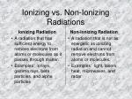 ionizing vs non ionizing radiations