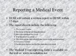 reporting a medical event53