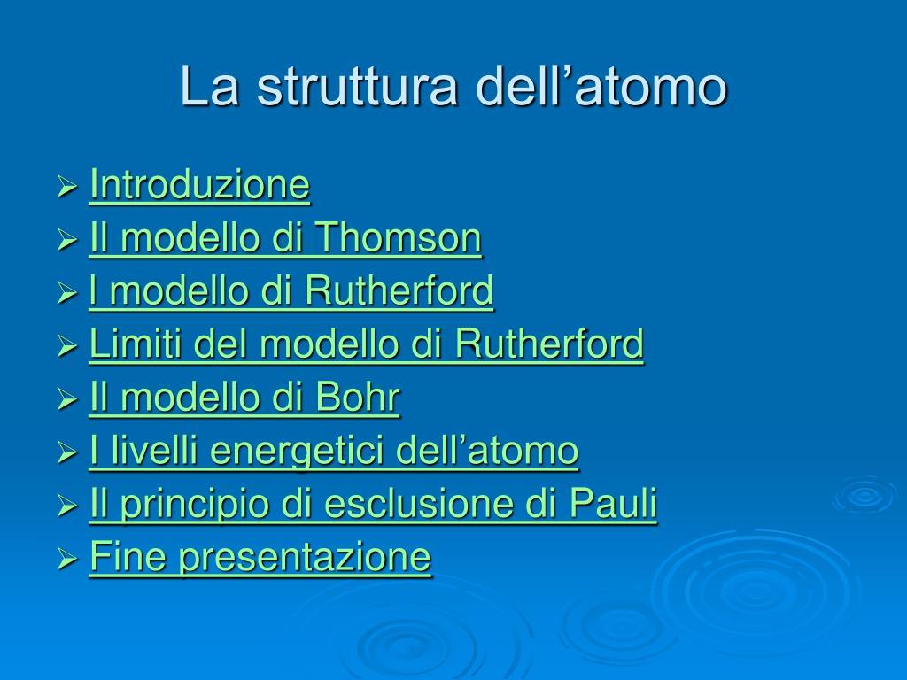 la struttura dell atomo l.