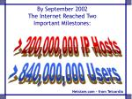 by september 2002 the internet reached two important milestones