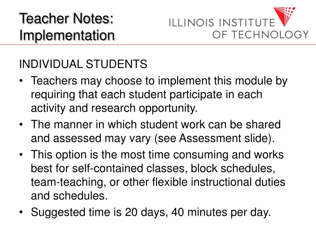 Teacher Notes: Implementation