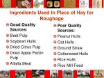 ingredients used in place of hay for roughage