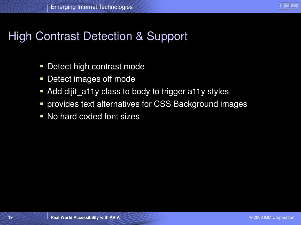 High Contrast Detection & Support