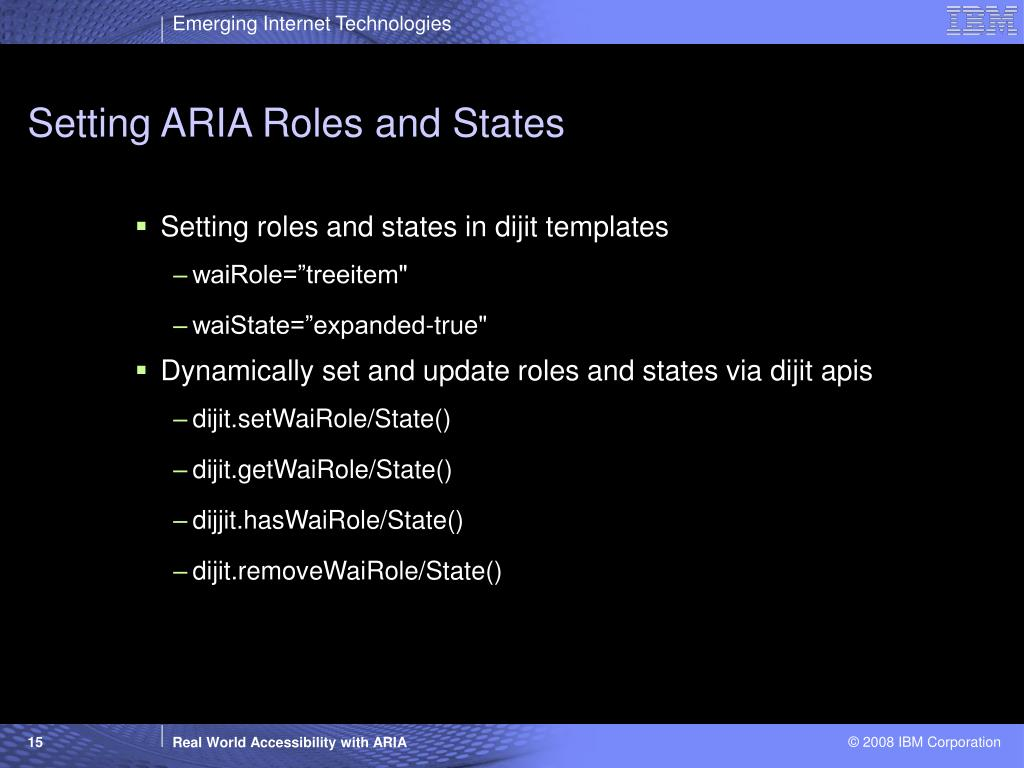 Setting ARIA Roles and States