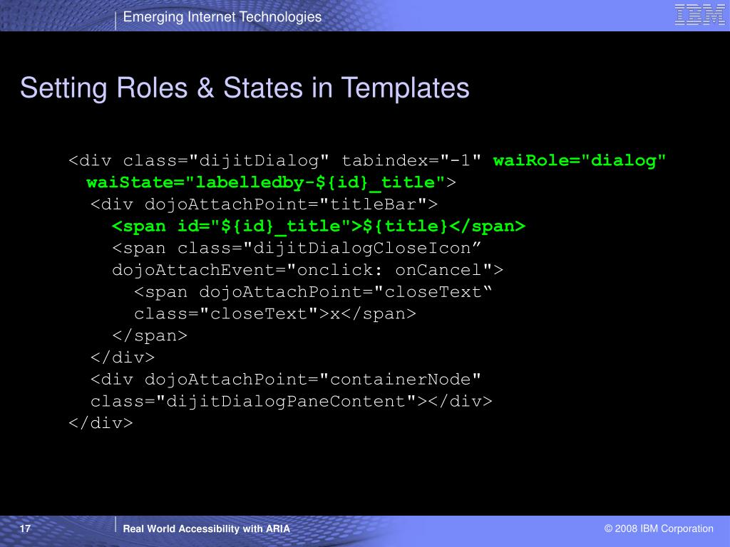 Setting Roles & States in Templates