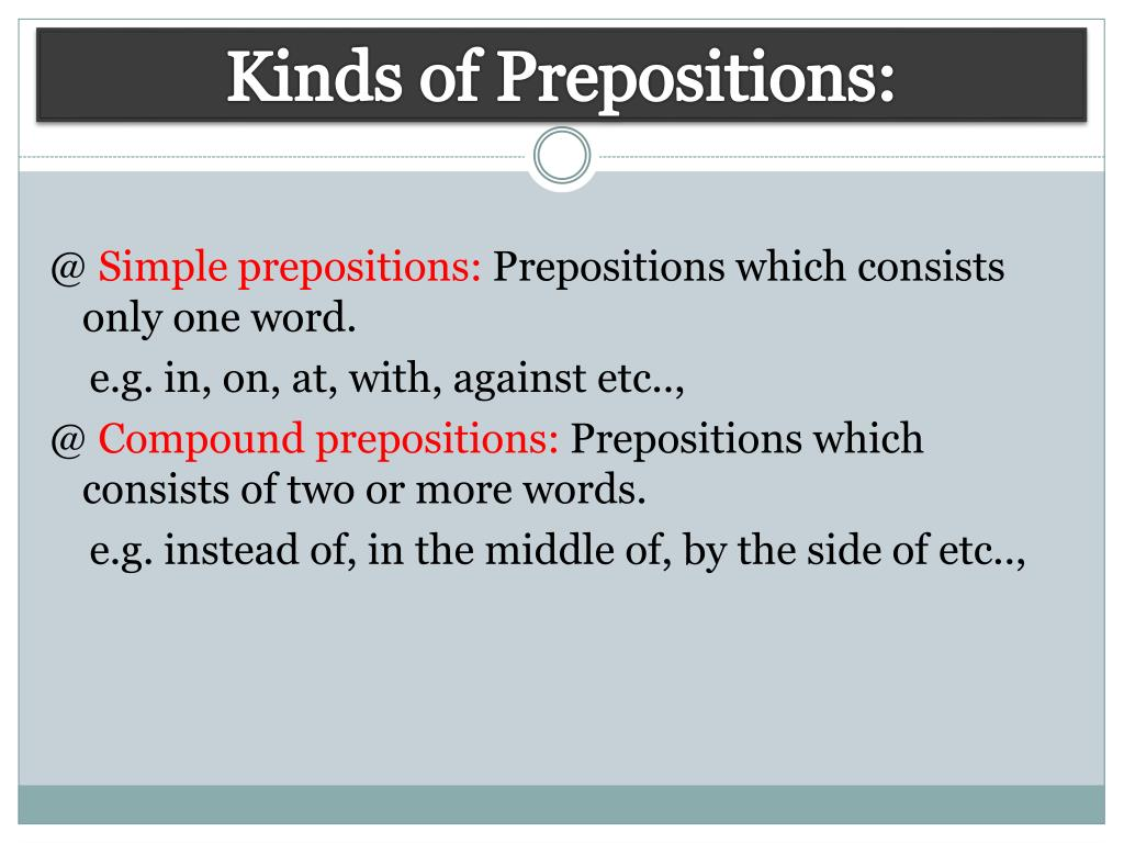 Kinds of Prepositions: