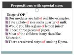 prepositions with special uses