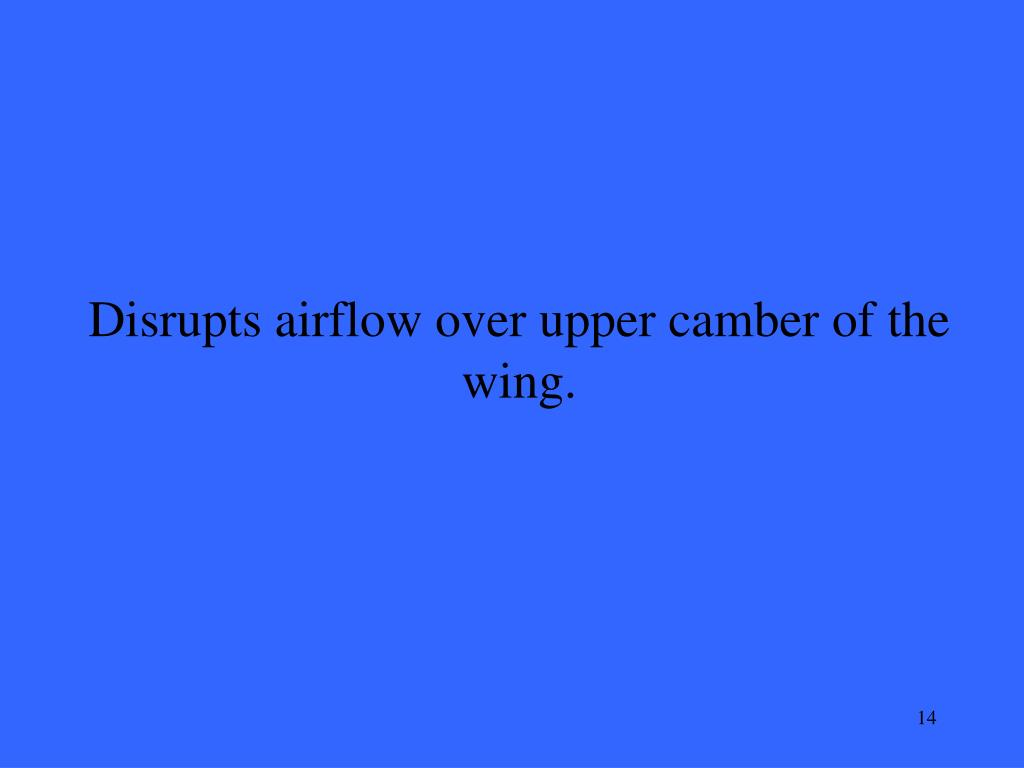 Disrupts airflow over upper camber of the wing.