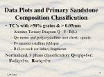 data plots and primary sandstone composition classification