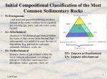 initial compositional classification of the most common sedimentary rocks