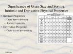 significance of grain size and sorting intrinsic and derivative physical properties