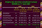 origine des donn es constituant la base raisin au 1 er ao t 2001