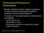 chlorhexidine resistance in acinetobacter