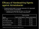 efficacy of handwashing agents against acinetobacter