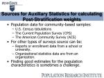 sources for auxiliary statistics for calculating post stratification weights
