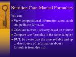 nutrition care manual formulary