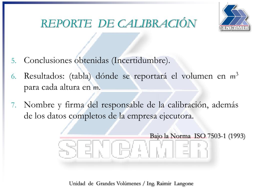 REPORTE  DE CALIBRACIÓN