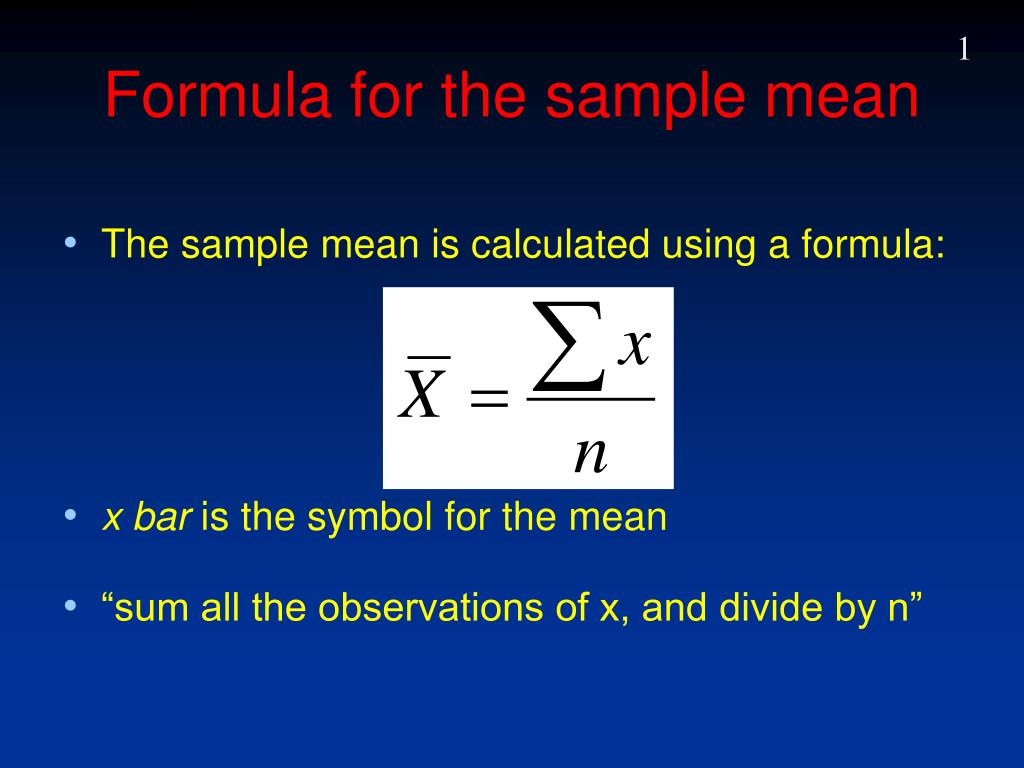Ppt formula for the sample mean powerpoint presentation id225670 formula for the sample mean l biocorpaavc Images