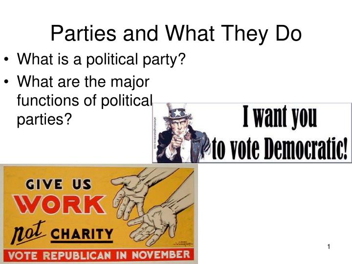 parties and what they do n.