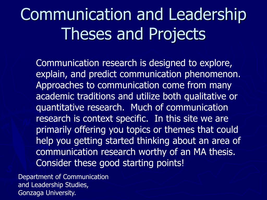 communication and leadership theses and projects l.