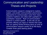communication and leadership theses and projects