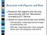 research with pigeons and rats