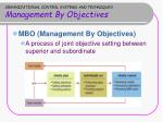 organizational control systems and techniques management by objectives