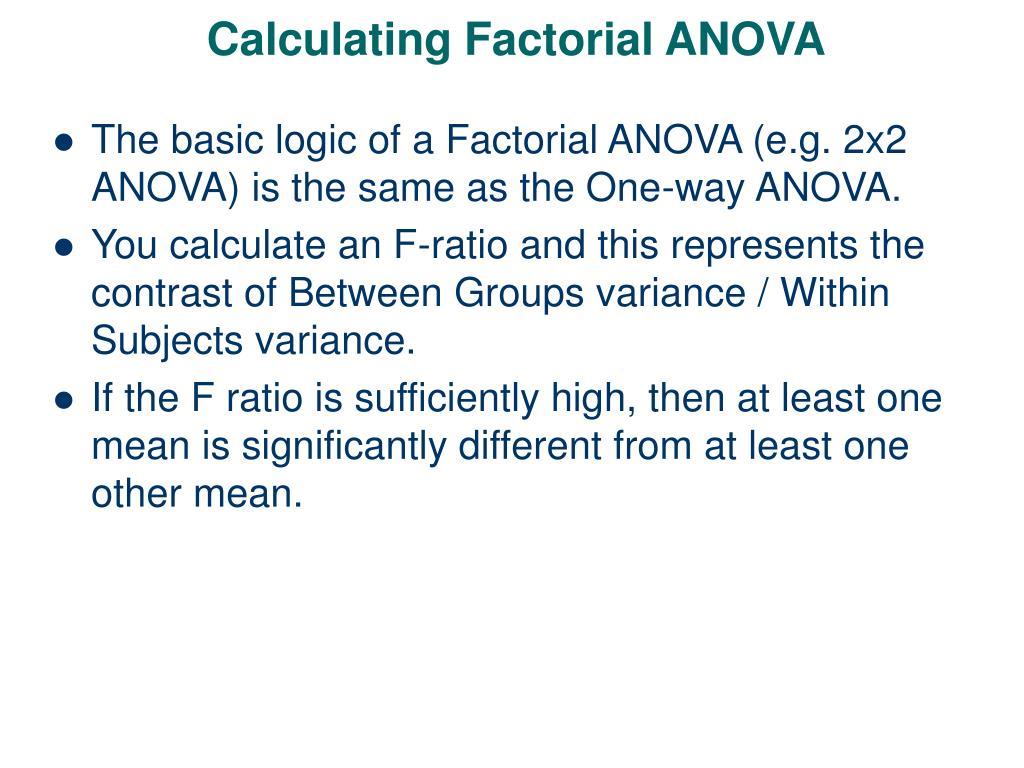 calculating factorial anova l.