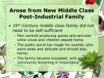 arose from new middle class post industrial family