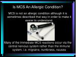 is mcs an allergic condition