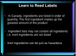 learn to read labels
