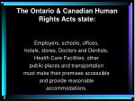 t he ontario canadian human rights act s state