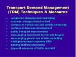 transport demand management tdm techniques measures