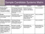 sample candidate systems matrix