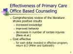 effectiveness of primary care office based counseling
