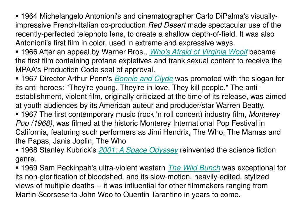 1964 Michelangelo Antonioni's and cinematographer Carlo DiPalma's visually-impressive French-Italian co-production