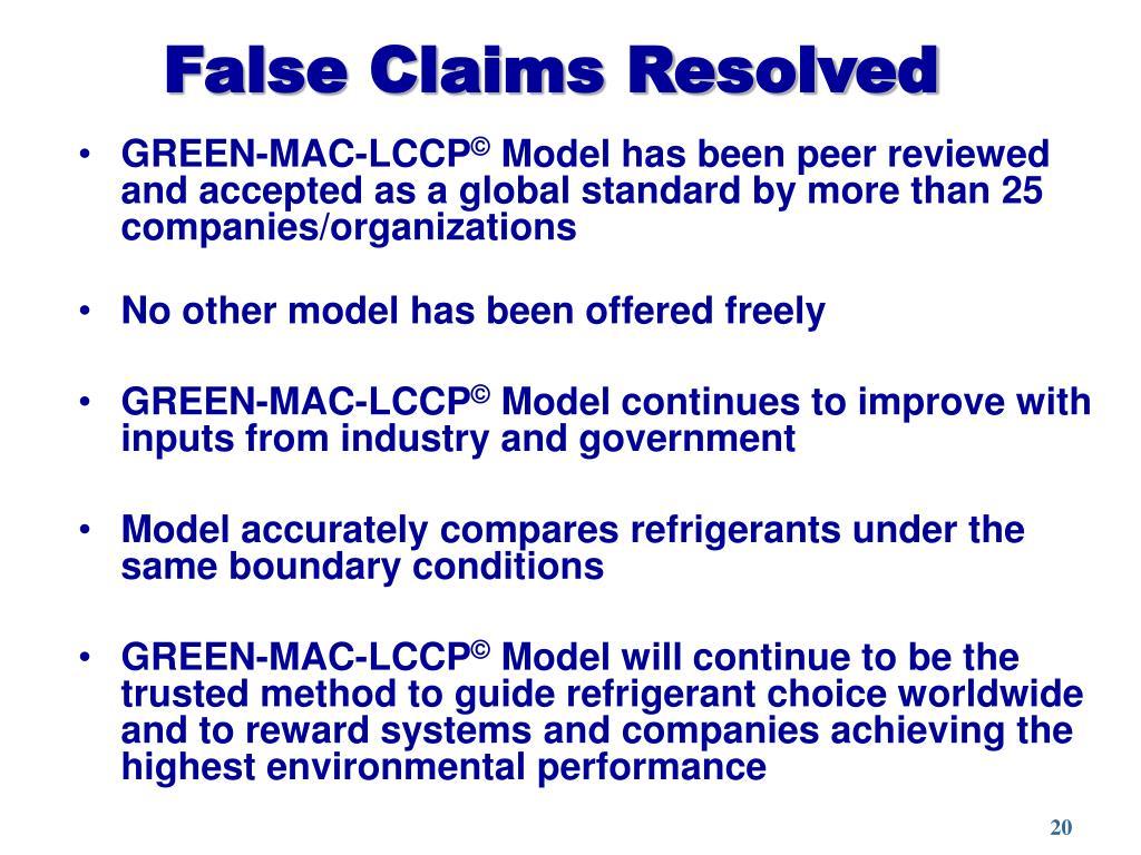 False Claims Resolved