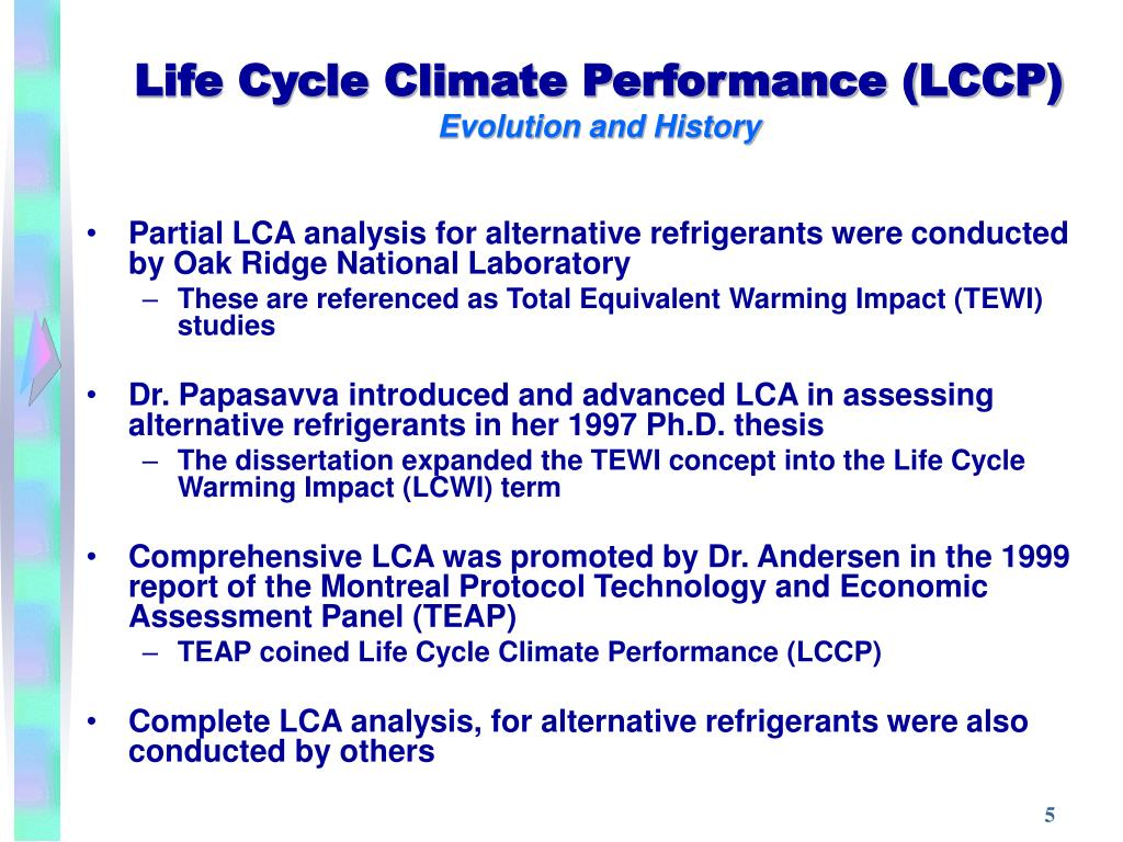 Life Cycle Climate Performance (LCCP)