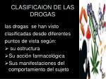 clasificaion de las drogas