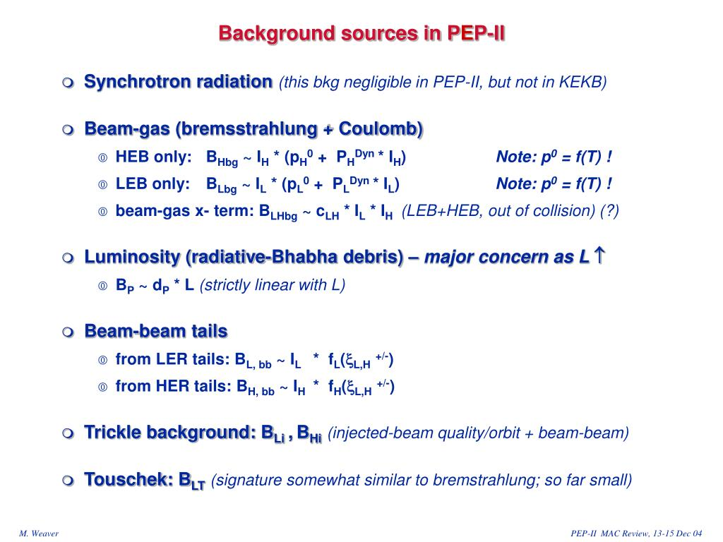 Background sources in P