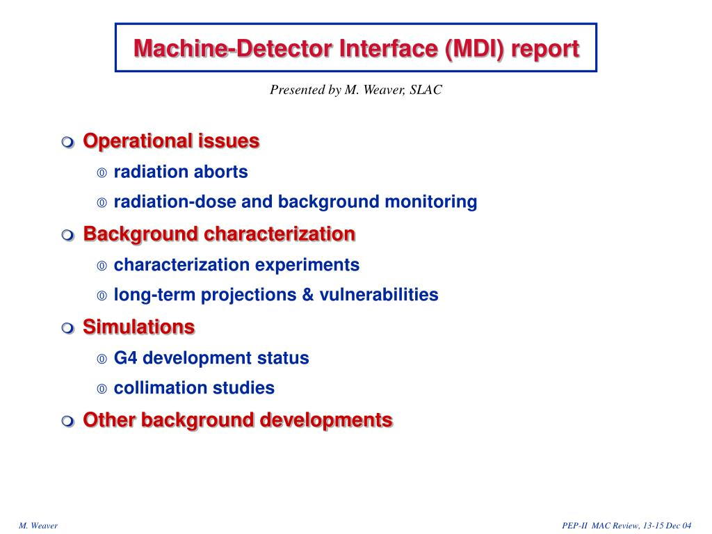 machine detector interface mdi report l.