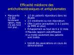 efficacit m diocre des anticholinest rasiques et antiglutamates