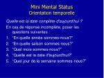 mini mental status orientation temporelle