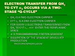 electron transfer from qh 2 to cyt c 2 occurs via a two stage q cycle
